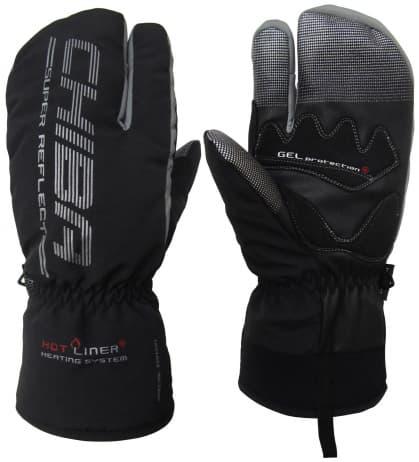 Extrémne hrejivé trojprstové zimné rukavice Chiba ALASKA PLUS s nepremokavou membránou, čierne