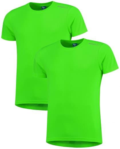Funkčné tričká Rogelli PROMOTION - 2 ks rôzne veľkosti, reflexná zelená