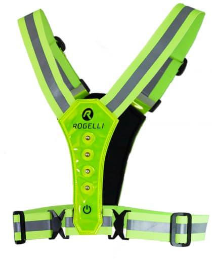 Bezpečnostná vesta s priedušným chrbtovým dielom Rogelli LED VESTA, reflexná žltá