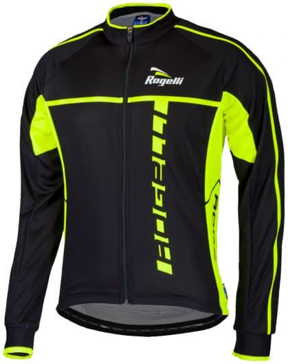 Cyklistický dres Rogelli UMBRIA 2.0 s dlhým rukávom, čierno-reflexný žltý
