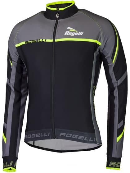 Cyklistický dres Rogelli ANDRANO 2.0 s dlhým rukávom, čierno-reflexný žltý