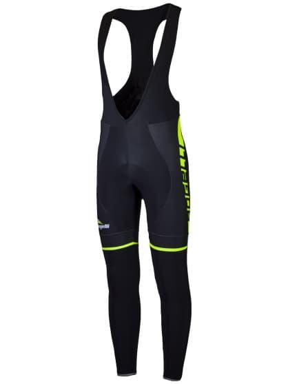 Cyklistické nohavice Rogelli UMBRIA 2.0 s gélovou cyklovýstelkou, čierno-reflexné žlté