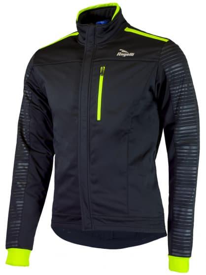 Softshellová bunda s výraznou reflexnou potlačou Rogelli RENON 2.0, čierno-reflexná žltá