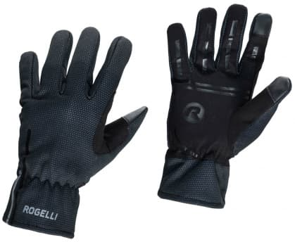 Tenké softshellové zimné rukavice s protišmykovou dlaňou Rogelli ANGOON, čierne