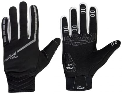 Tenké zimné membránové rukavice s gélovým polstrovaním dlane Rogelli INVERNO, čierne