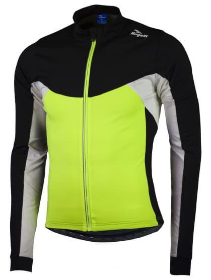 Hrejivý detský cyklistický dres Rogelli RECCO 2.0 s dlhým rukávom, reflexný žltý