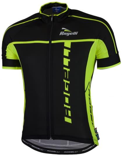 Ultraľahký cyklistický dres Rogelli UMBRIA 2.0 s krátkym rukávom, čierno-reflexný žltý