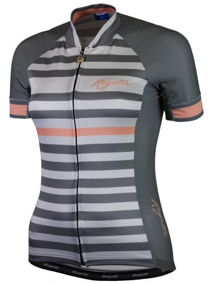 Letný dámsky cyklistický dres Rogelli ISPIRA s krátkym rukávom, šedo-koralový