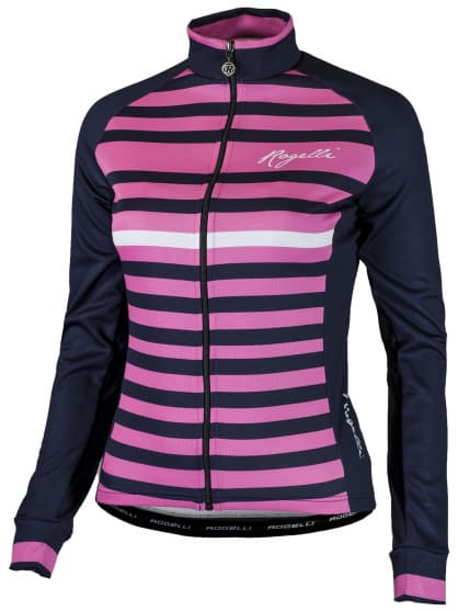 Dámsky cyklodres Rogelli ISPIRA s jemným počesaním a dlhým rukávom, modro-ružový