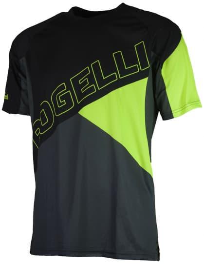 Voľný cyklistický MTB dres Rogelli ADVENTURE s krátkym rukávom a bez vreciek, čierno-reflexný žltý