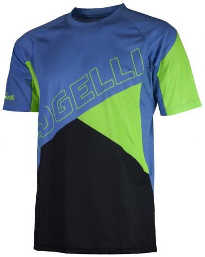 Voľný cyklistický MTB dres Rogelli ADVENTURE s krátkym rukávom a bez vreciek, modro-zelený